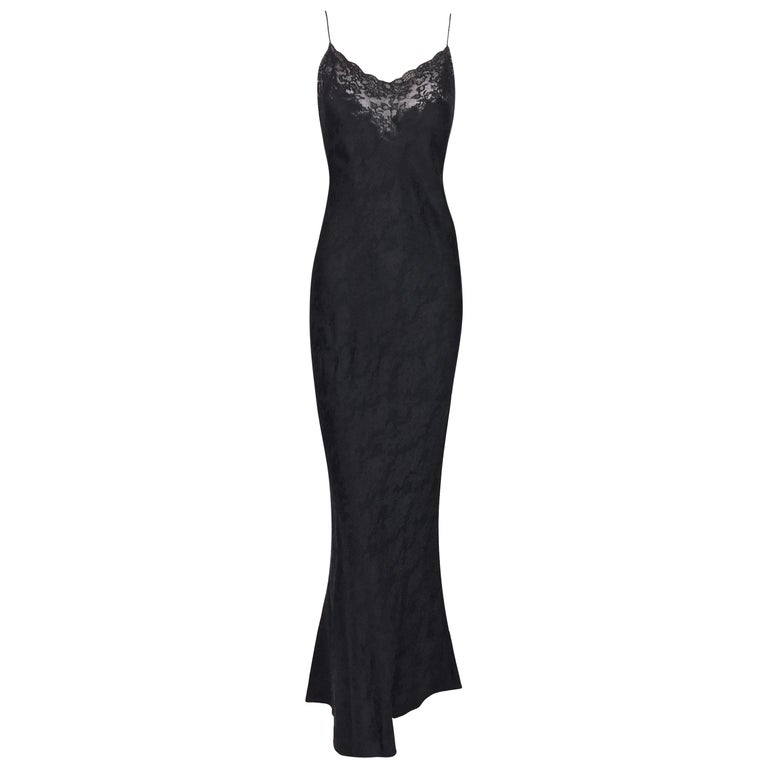 F/W 1997 Christian Dior Sheer Lace Black Plunging Long Slip Gown Dress