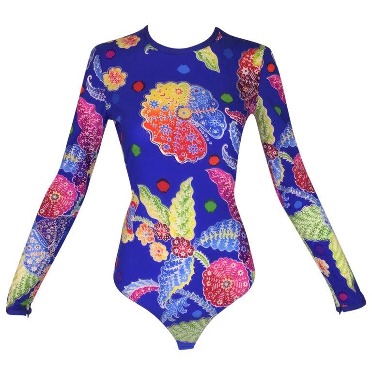 F/W 1994 Gianni Versace Couture Raj Print Bodysuit Top