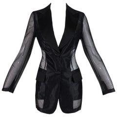 S/S 1995 Dolce & Gabbana Sheer Black Nylon Long Blazer Jacket