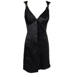 S/S 1995 Gianni Versace Black Silk Velvet MOD Plunging Mini Dress