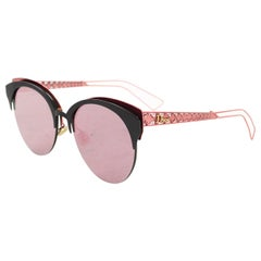 Christian Dior Pink & Black Diorama Mirrored Sunglasses with Case