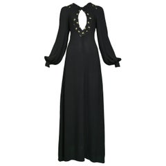 Vintage Ossie Clark 1970s Black Floral Embroidered Keyhole Gown