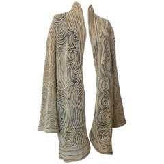 Halston Pearl Crochet and Gold Bugle Beaded Silk Organza Lace Jacket, 1980s