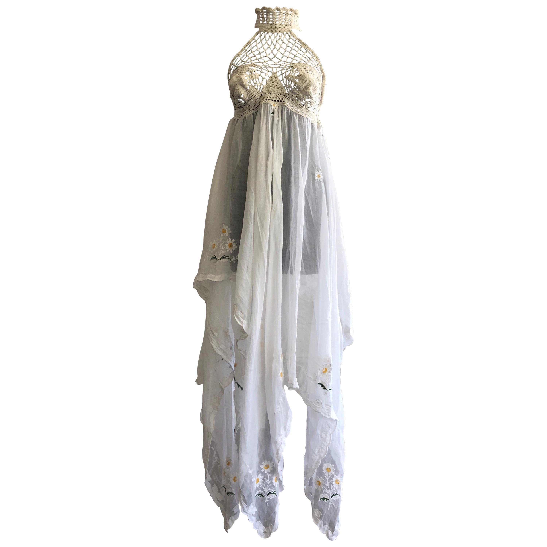 1970s-Style Crochet Halter Dress W/ Daisy Embroidered Linen Handkerchief Hem