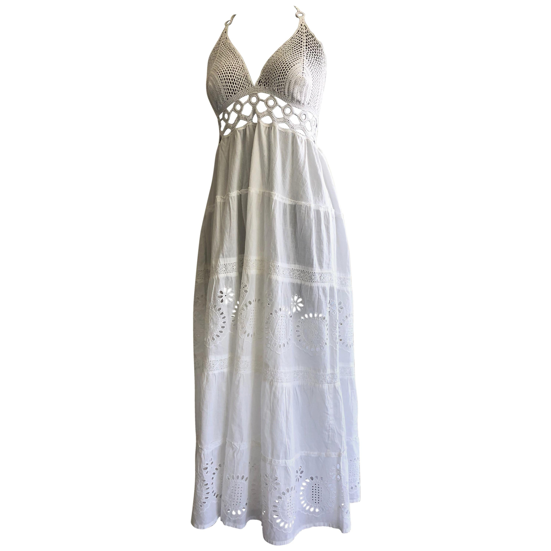 1970s-Style Summer Halter Midi Dress W/ Hand-Crochet & Victorian Eyelet Skirt