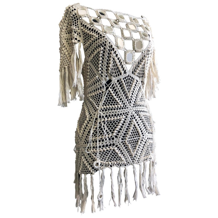 1970s Style Crochet and Mirror Bib Tunic With Fringe Trim and Open Tie Back