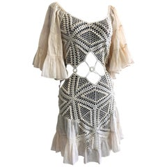 1970s-Style Peek-A-Boo Crochet Midriff Mini Dress W/ Cotton Ruffle Sleeves & Hem