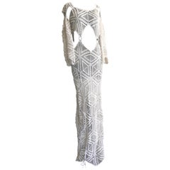 1970s Style Body Conscious Open Midriff Crochet Maxi Dress With Bell Sleeves