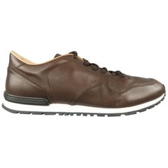 TOD'S Size 12 Brown Solid Leather Trainer Sneakers