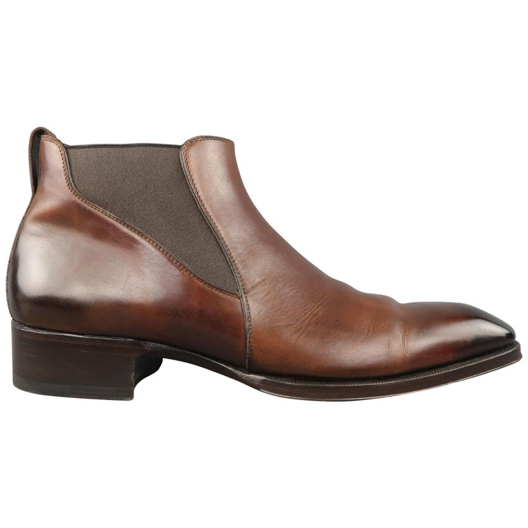 TOM FORD Edgar Size 12 Brown Antique Leather EDGAR Low Chelsea Boots