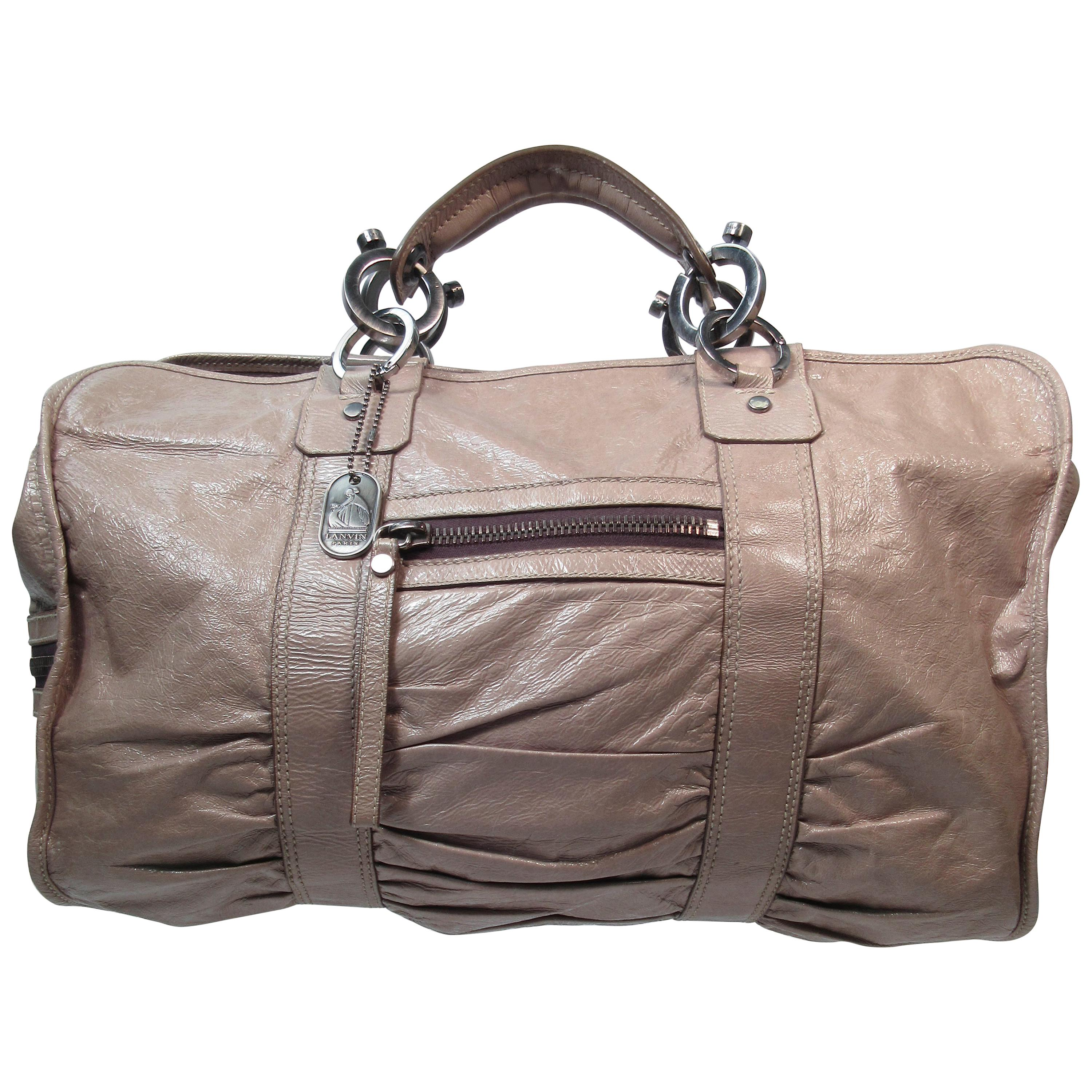 Lanvin Patent Taupe Carry All Handbag with Silver Hardware