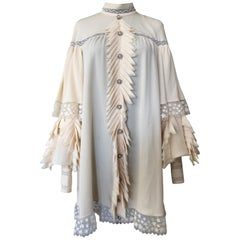 Chanel Cream Silk Poet Sleeved Tunic Dress With Structured Ruffle Front
