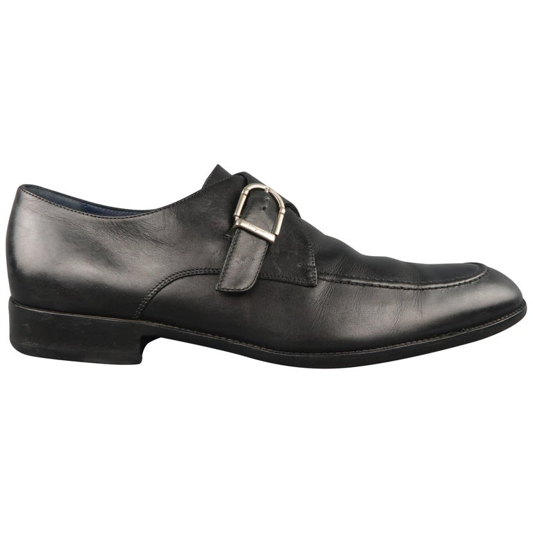 SALVATORE FERRAGAMO Size 11.5 Black Leather Apron Toe Monk Strap Loafers Shoes