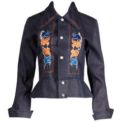 1970s Vintage Hippie Denim Jean Jacket with Orange + Blue Bird Embroidery