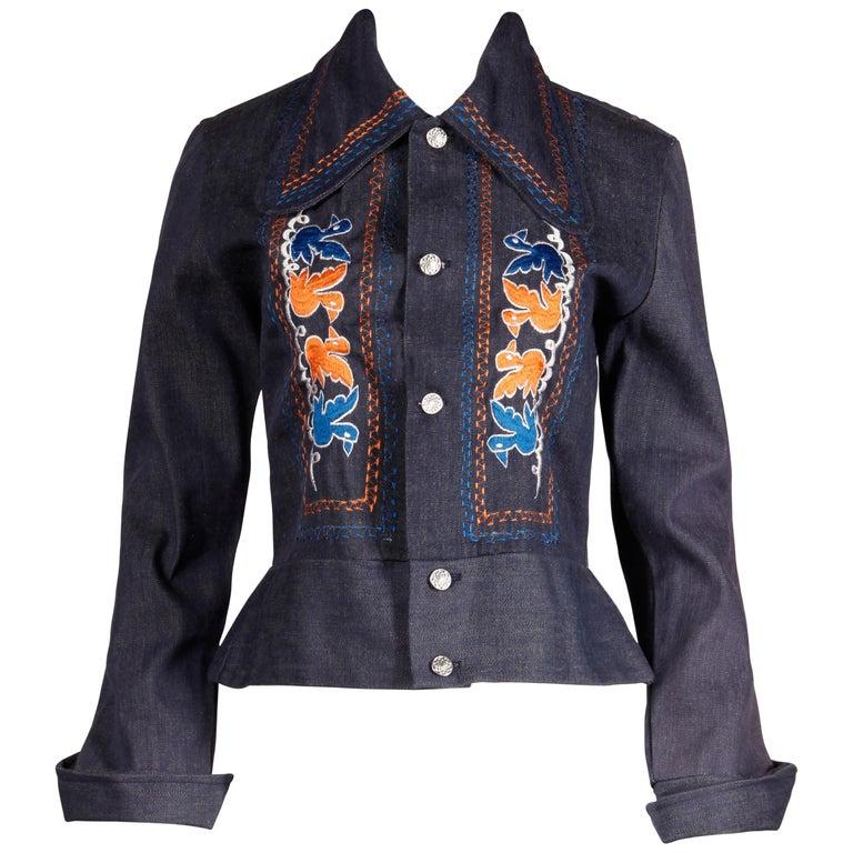 1970s Vintage Hippie Denim Jean Jacket with Orange + Blue Bird Embroidery For Sale