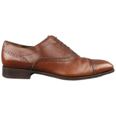 SALVATORE FERRAGAMO Size 12 Tan Textured Leather Lace Up Wingtip Brogues