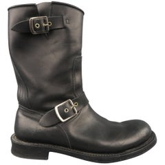 DOLCE & GABBANA Size 8.5 Black Leather Double Strap Biker Boots