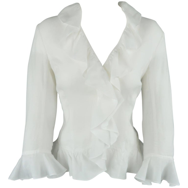 RALPH LAUREN Size 6 White Ramie Ruffled Collar 3/4 Sleeve Blouse
