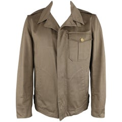 GUCCI by TOM FORD 42 Olive Green Cotton Hidden Placket Army Jacket