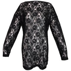 1993 Dolce & Gabbana Sheer Black Lace MOD 60's Style L/S Mini Dress