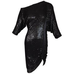 Gianni Versace Runway Semi-Sheer Off Shoulder Black Sequin Mini Dress, S/S 2001
