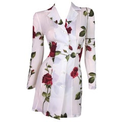 1996 Dolce & Gabbana Sheer Silk Roses Print Button Down L/S Mini Dress