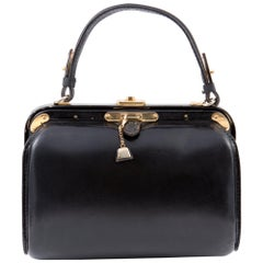 1960s Fernande Desgranges Black Box Calf Hand Bag