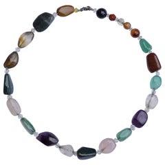 Vintage Polished Semi Precious Stones Necklace, circa 1950s
