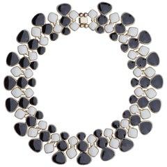 Vintage Gold Tone Black and White Enamel Link Statement Collar Necklace