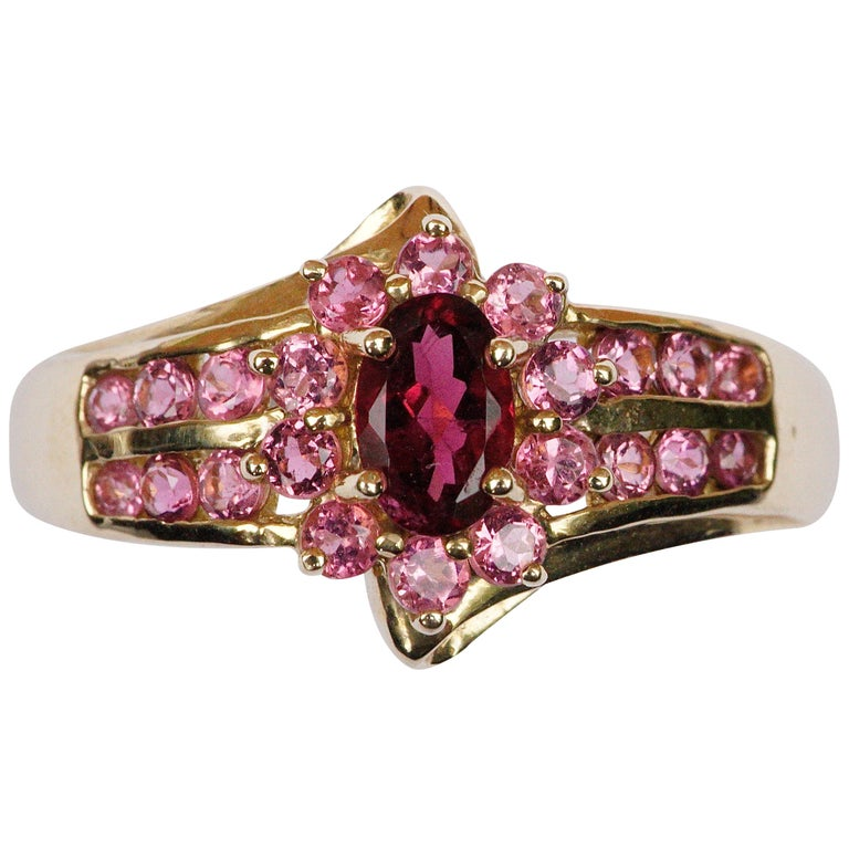 Modern STS 14K Gold Deep Pink Tourmaline and Light Pink Gemstone Ring For Sale