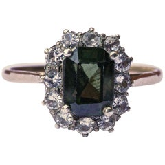 1930s Vintage 14ct Gold, Green Zircon and White Sapphire Ring