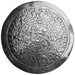 Vintage Mexican Taxco Sterling Silver Mayan Calendar Brooch