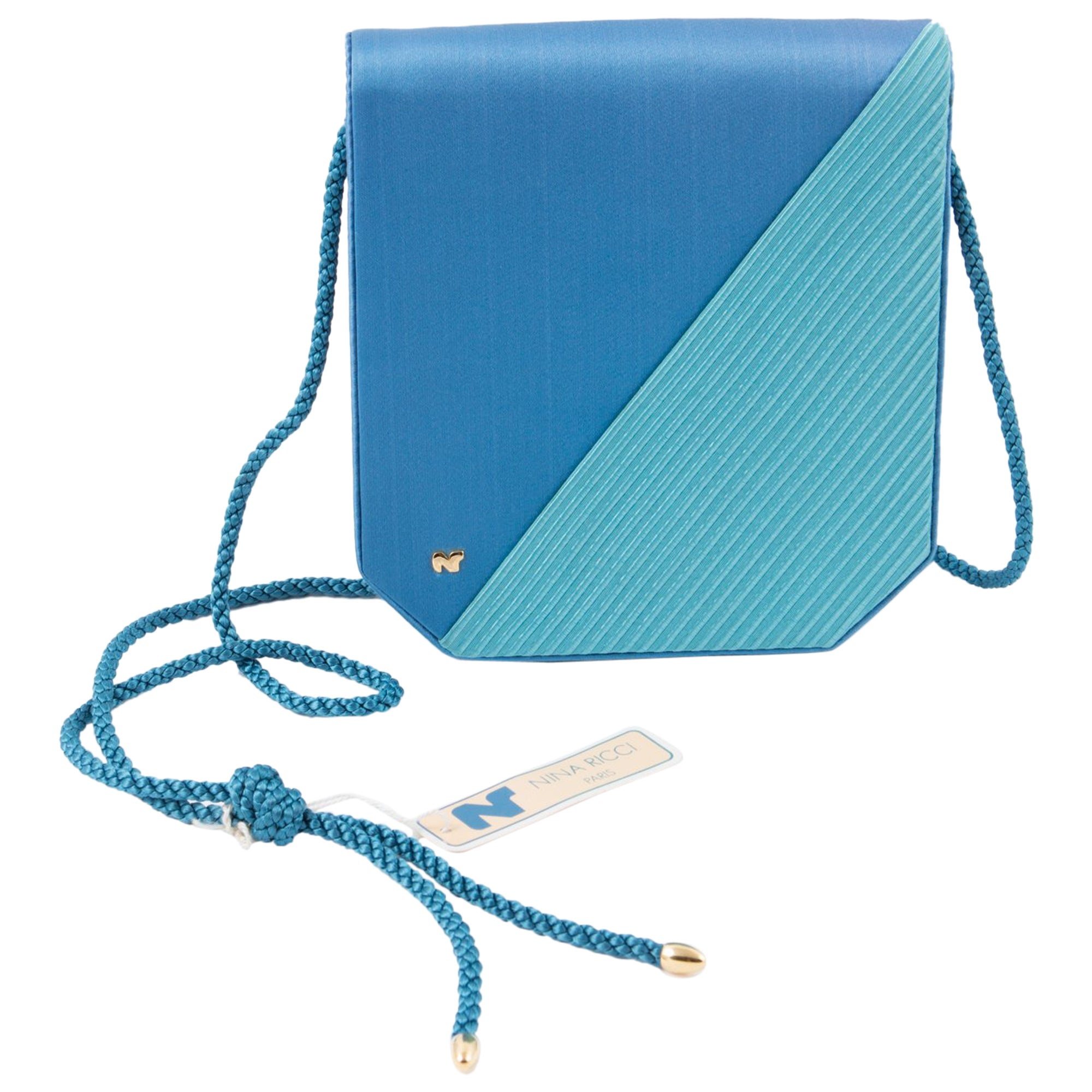1bcd48ec896b Nina Ricci Turquoise Silk Evening Bag For Sale at 1stdibs