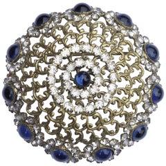 Alice Caviness Blue Cabochon and Rhinestone Vintage Brooch
