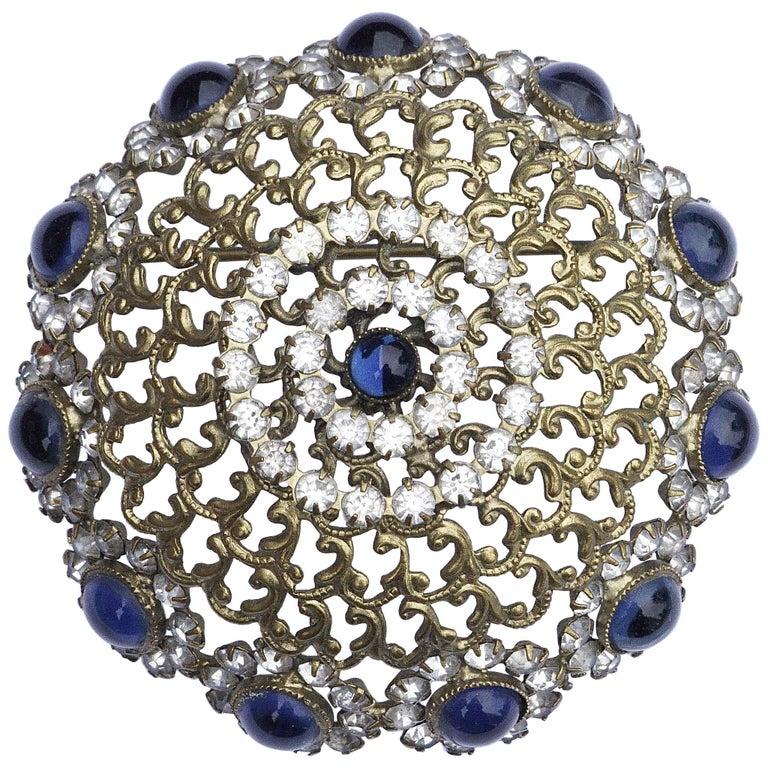 bca9b361d177b Alice Caviness Blue Cabochon and Rhinestone Vintage Brooch