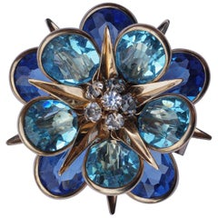 Walter Lampl 1940s Gold Filled Blue Glass and Rhinestone Brooch/Pendant