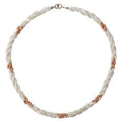 Twisted Triple Strand Coral Mother-of-Pearl Vintage Bead Necklace
