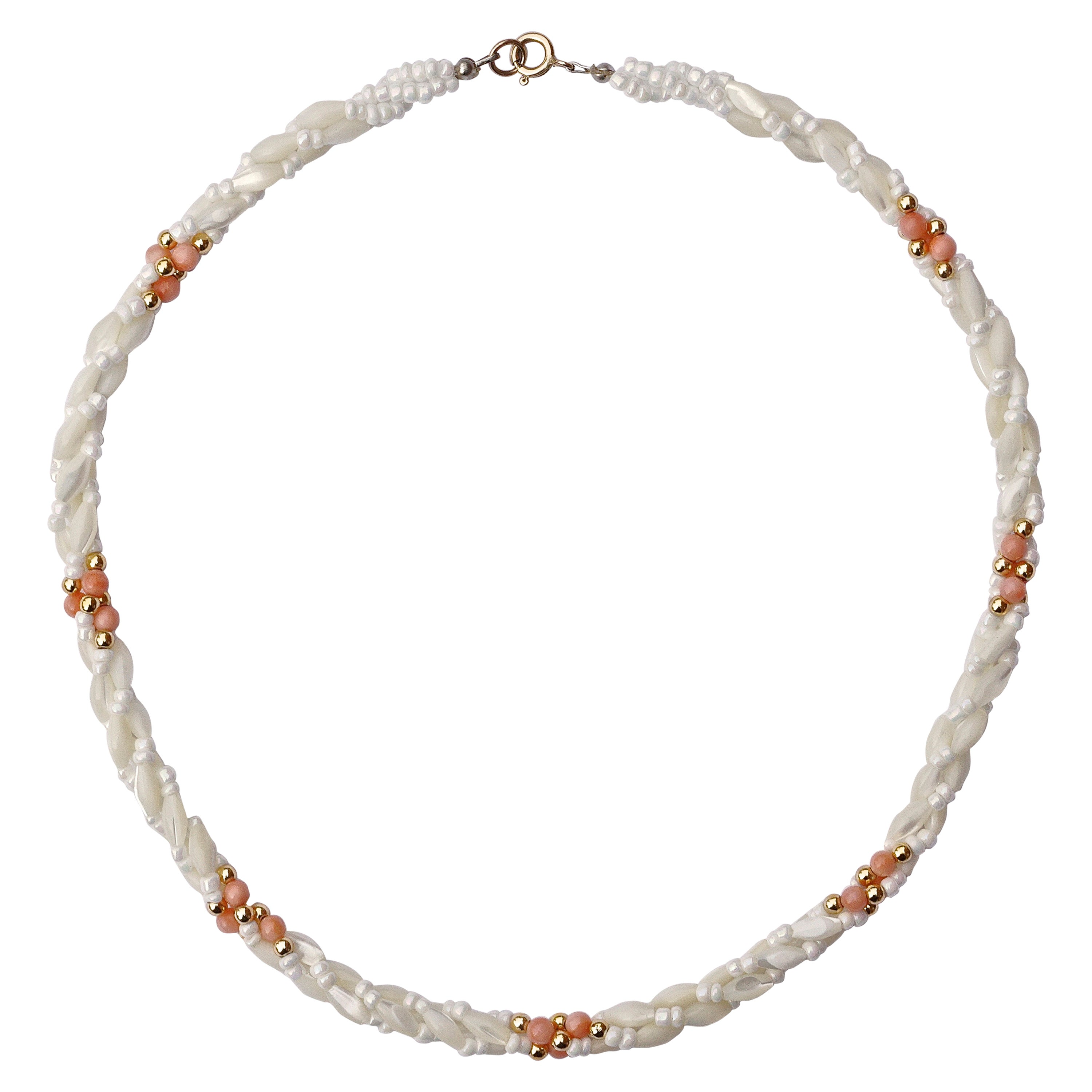 a28dc60ffd6b0 Twisted Triple Strand Coral Mother-of-Pearl Vintage Bead Necklace