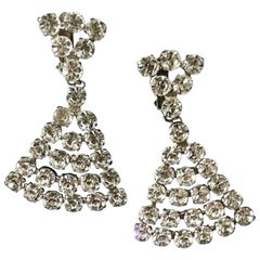 Vintage Large Silver Tone Clear Rhinestone Drop Clip On Earrings, circa 1960s