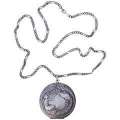 French Pierre Bex Art Nouveau style Silver Plated Necklace and Peacock Locket