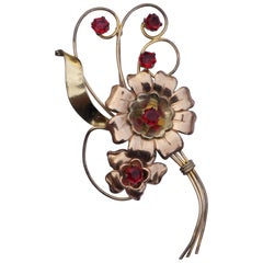Harry Iskin 1940s Large Red Rhinestone Flower Statement Brooch