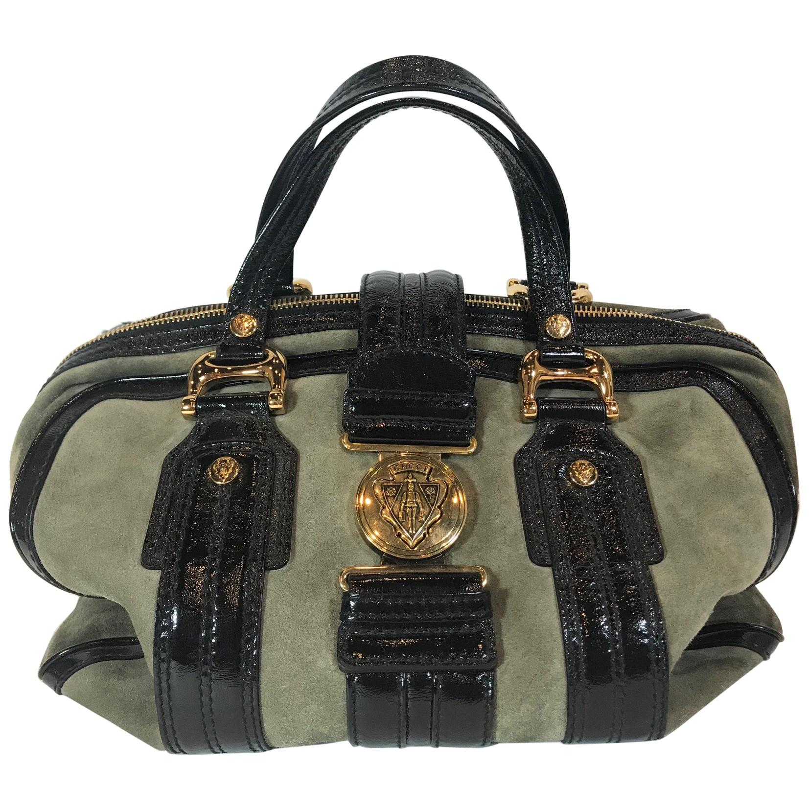 ebd108a34876cb Gucci Black/Khaki Patent Leather and Suede Aviatrix Boston Bag For Sale at  1stdibs