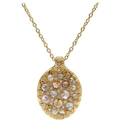 Multi Color Rose Cut Pave Diamond 18K Gold Pendant Necklace