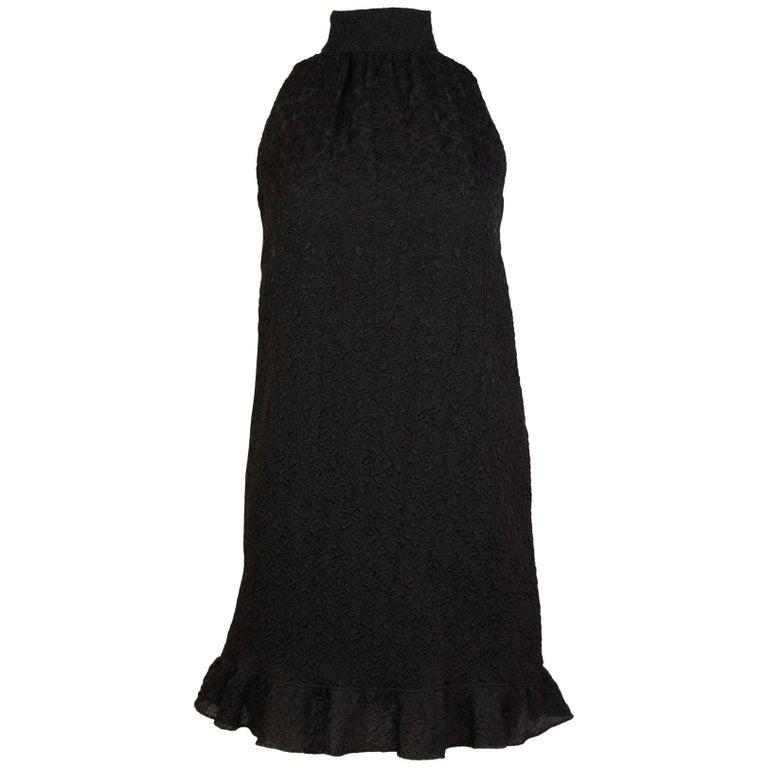 Chanel Sport Black/Brown Textured Silk Trapeze Dress Sz FR34 NWT