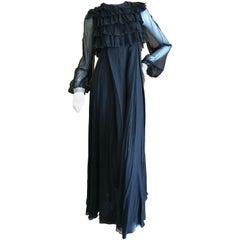 Cardinali 1970's Black Silk Evening Dress with Palazzo Pants