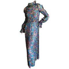 Cardinali Fall 1971 Ruffle Silk  Floral Evening Dress with Pin Tuck Details