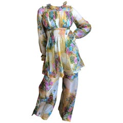 Cardinali 1970's Silk Floral Pintuck Tunic and Pant Set