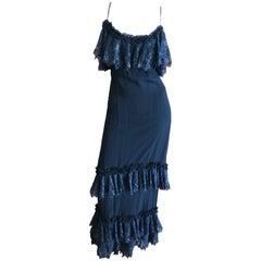 Cardinali Black Silk Ruffle Tiered Evening Dress, 1973