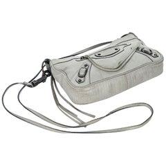 Grey Balenciaga Embossed Leather Crossbody Bag