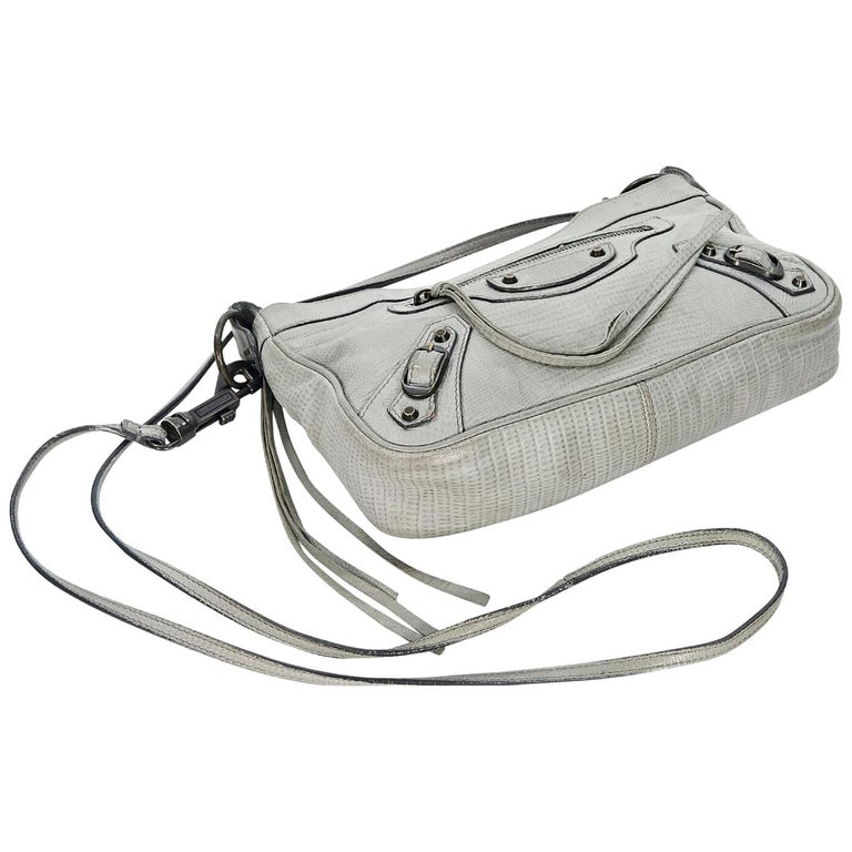 affordable price brand new Buy Authentic Grey Balenciaga Embossed Leather Crossbody Bag